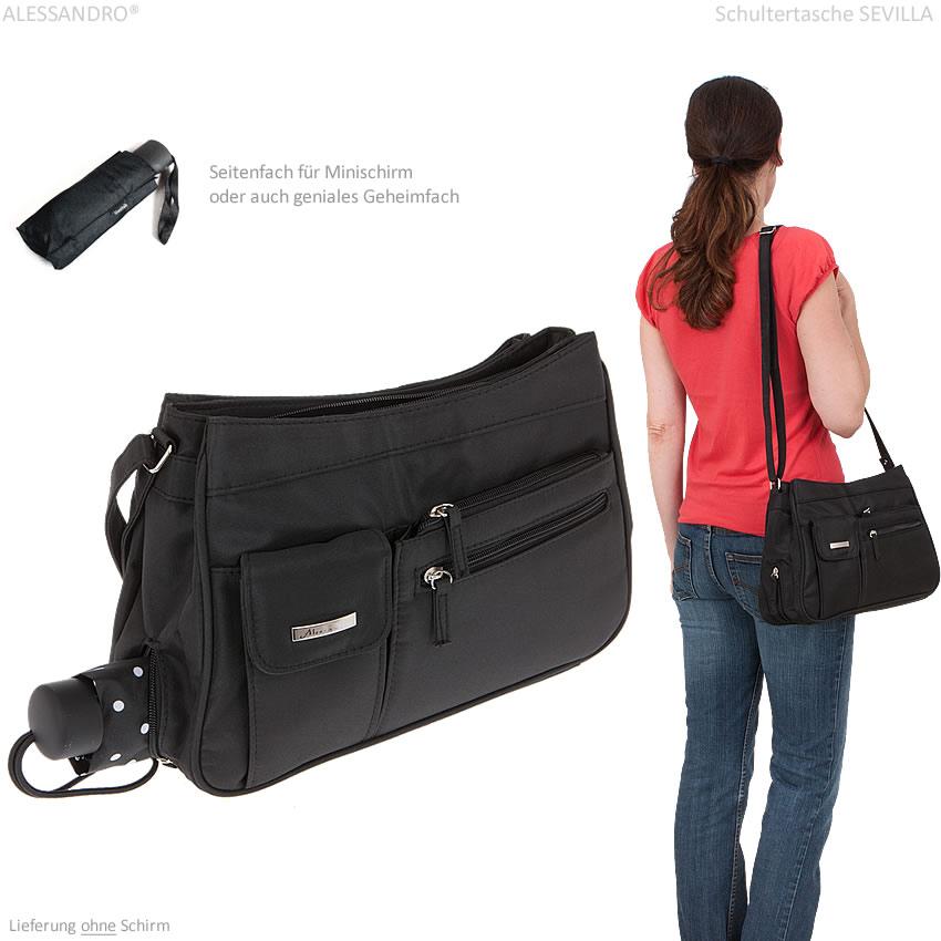 1618394a7905c Handtasche ALESSANDRO SEVILLA Schultertasche Microfaser Tasche 3 ...
