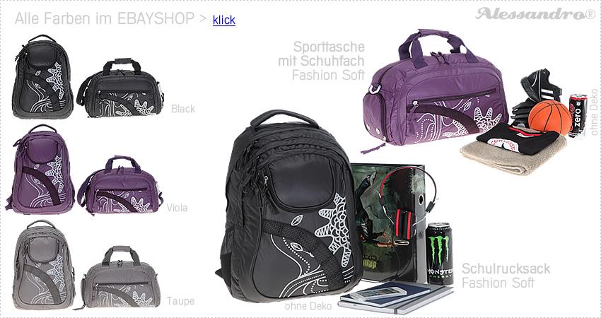 3er SET Regen SC Schulrucksack ALESSANDRO SOFT FASHION Rucksack Sporttasche