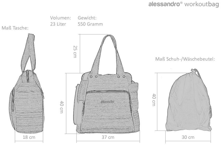 f Sporttasche Shopper Alessandro Workout Bag Tasche Weekender Beutel 12315 Pink