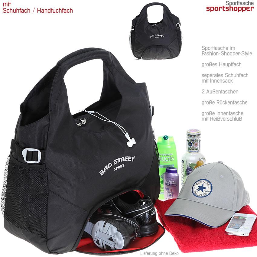 sporttasche bagstreet sportsshopper shopper tasche mit. Black Bedroom Furniture Sets. Home Design Ideas