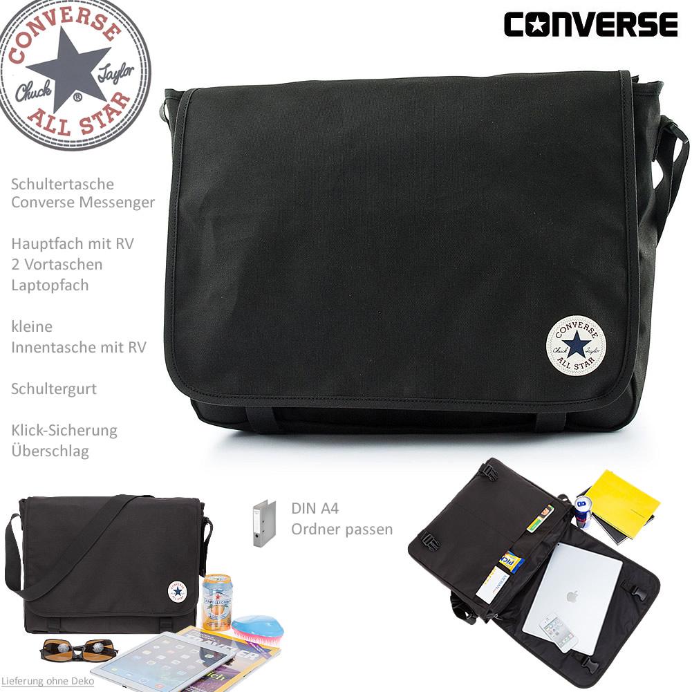b90f783b2b0bb Converse Laptoptasche Messenger Notebook Tasche 4IA038A Schwarz + ...