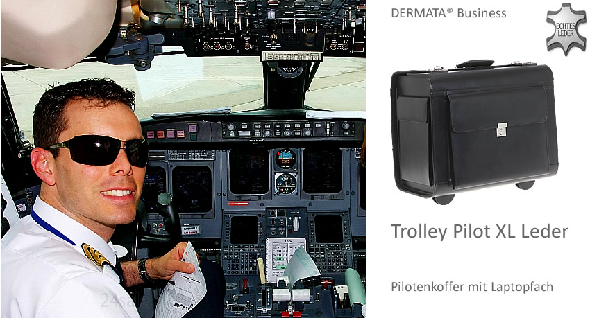 trolley dermata chef pilot xl leder pilotenkoffer pilotentrolley koffer 1329 xl ebay. Black Bedroom Furniture Sets. Home Design Ideas