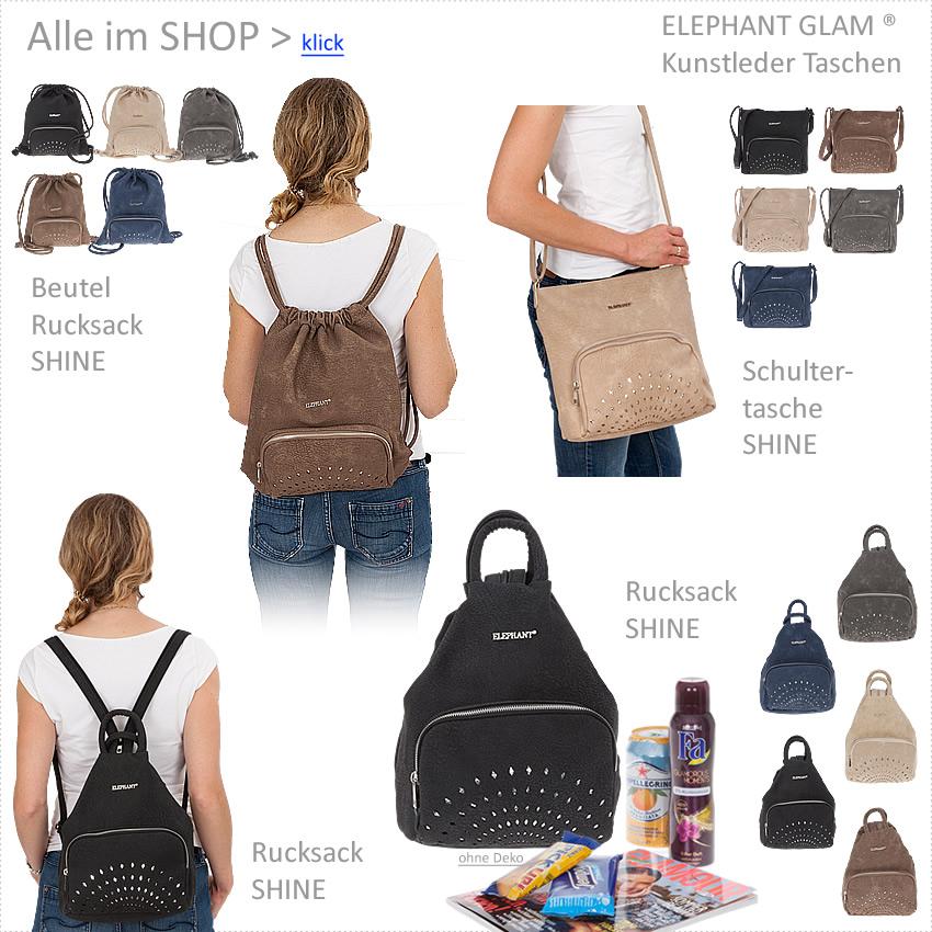 3479e3dc4cbb2 Beutel ELEPHANT GLAM SHINE Damen Rucksack Handtasche Damenrucksack ...