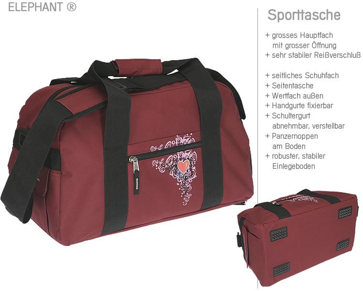 sporttasche elephant heart sport tasche schulsporttasche. Black Bedroom Furniture Sets. Home Design Ideas