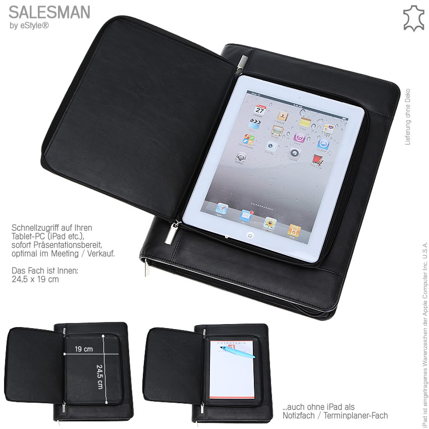 schreibmappe salesman ledermappe ipad tasche aktenmappe konferenzmappe schwarz ebay. Black Bedroom Furniture Sets. Home Design Ideas