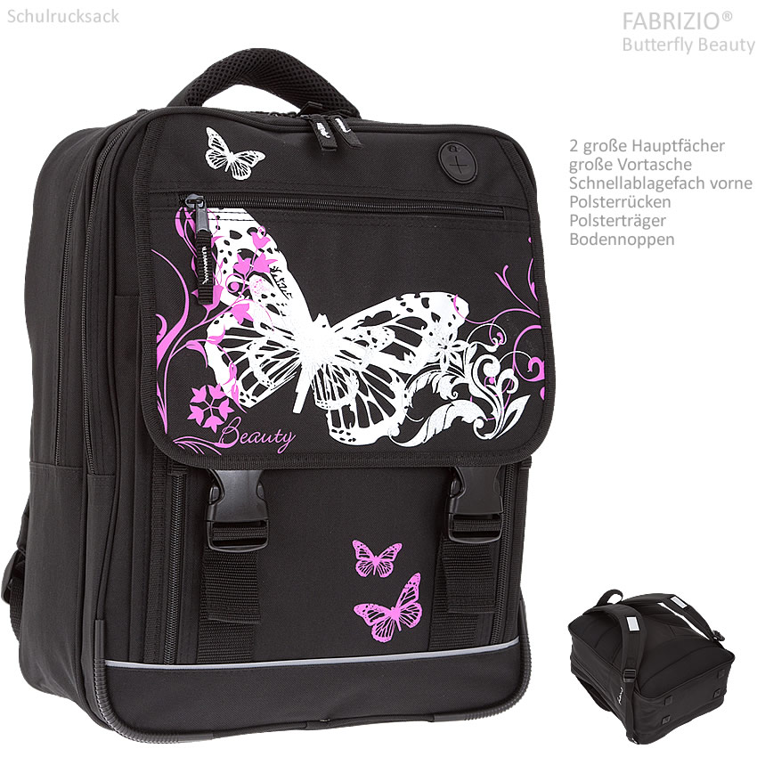 schulrucksack fabrizio butterfly beauty schultasche. Black Bedroom Furniture Sets. Home Design Ideas