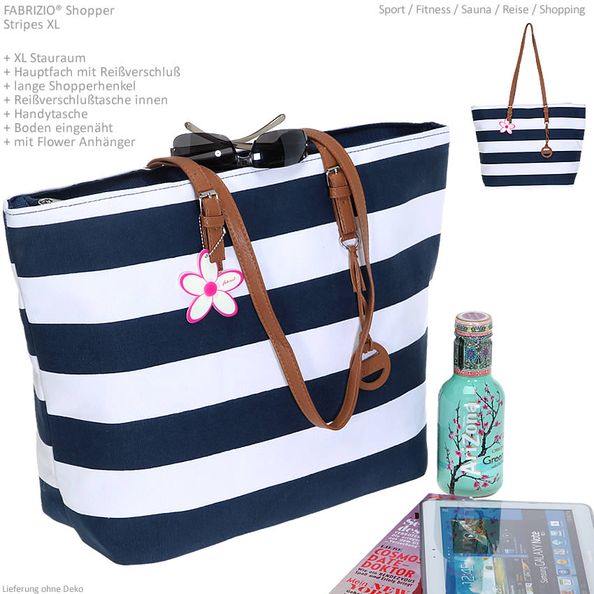 shopper fabrizio stripes handtasche einkaufstasche tasche saunatasche blau weiss ebay. Black Bedroom Furniture Sets. Home Design Ideas