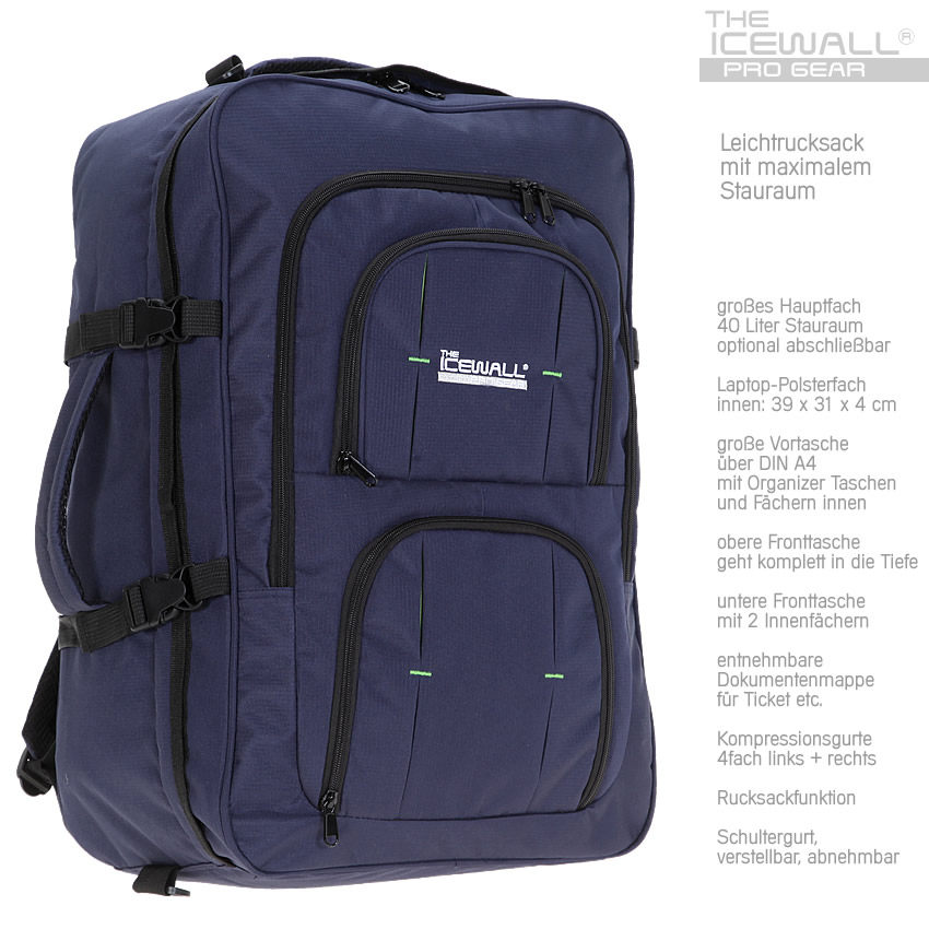 rucksack icewall reiserucksack 40 l boardgep ck reisetasche kabinenrucksack blau ebay. Black Bedroom Furniture Sets. Home Design Ideas