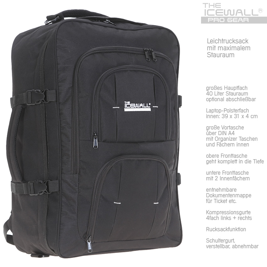 rucksack icewall reiserucksack 40l bordgep ck reisetasche leichtrucksack schwarz ebay. Black Bedroom Furniture Sets. Home Design Ideas
