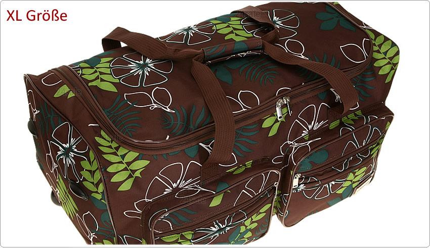 trolley leonardo flower reisetasche koffer rollreisetasche 67 cm xl tasche braun ebay. Black Bedroom Furniture Sets. Home Design Ideas