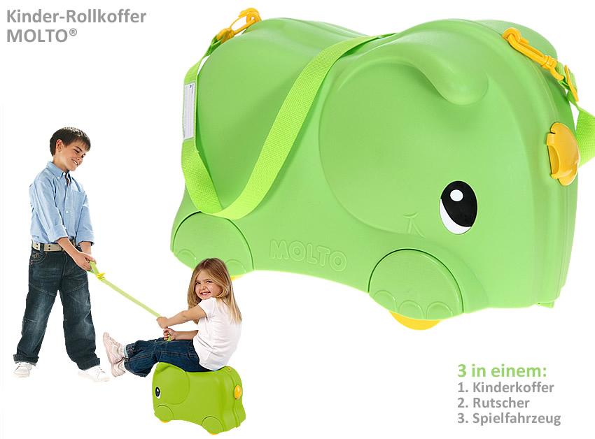 kinderkoffer molto rutscher kinder koffer elefant gr n. Black Bedroom Furniture Sets. Home Design Ideas