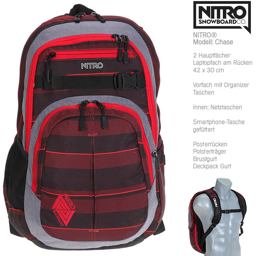 """Schulrucksack NITRO CHASE Laptop Notebook Rucksack 17 /"""" 878014-038 RED STRIPES f"""
