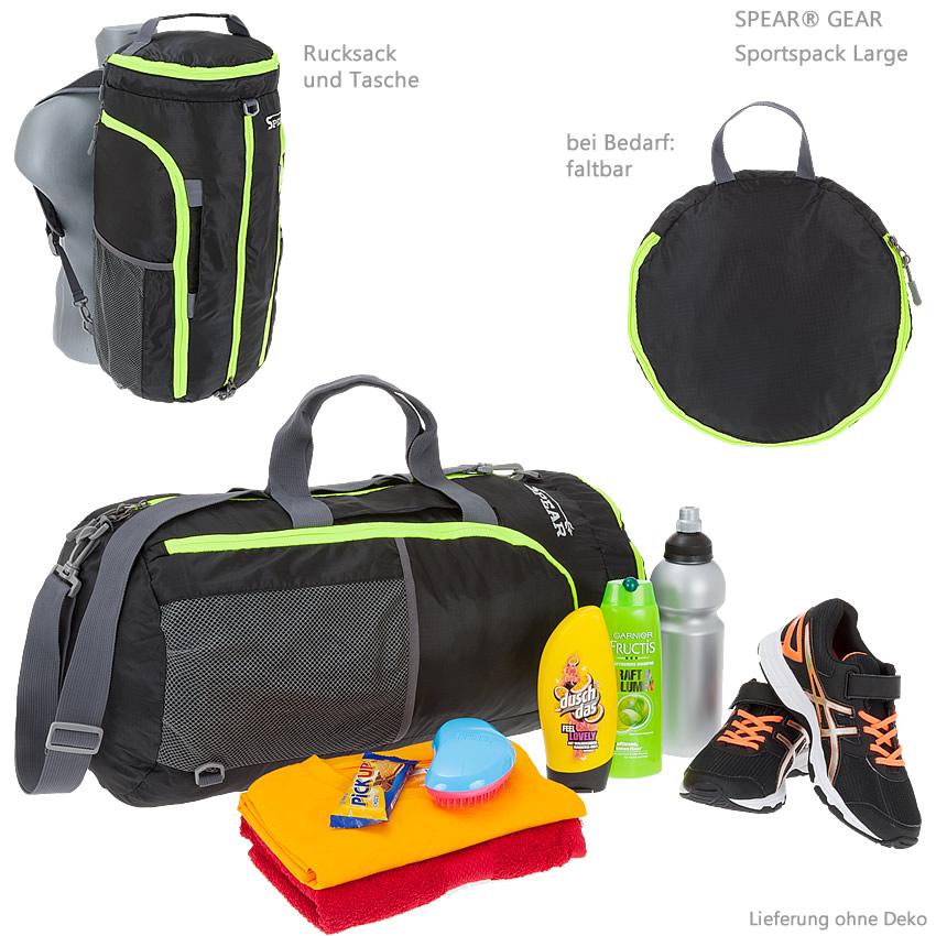 sporttasche spear sportspack rucksack und tasche seesack faltbar 55cm 37l schw ebay. Black Bedroom Furniture Sets. Home Design Ideas