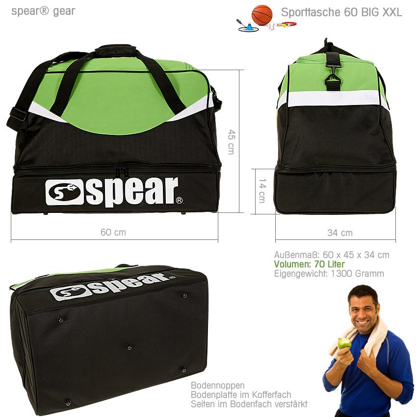 sporttasche spear big xxl 70 l tasche reisetasche fu balltasche gr n flasche ebay. Black Bedroom Furniture Sets. Home Design Ideas