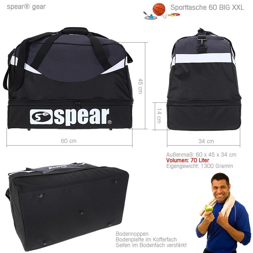 sporttasche spear big xxl 70 l fu balltasche bodenfach reisetasche schwarz ebay. Black Bedroom Furniture Sets. Home Design Ideas
