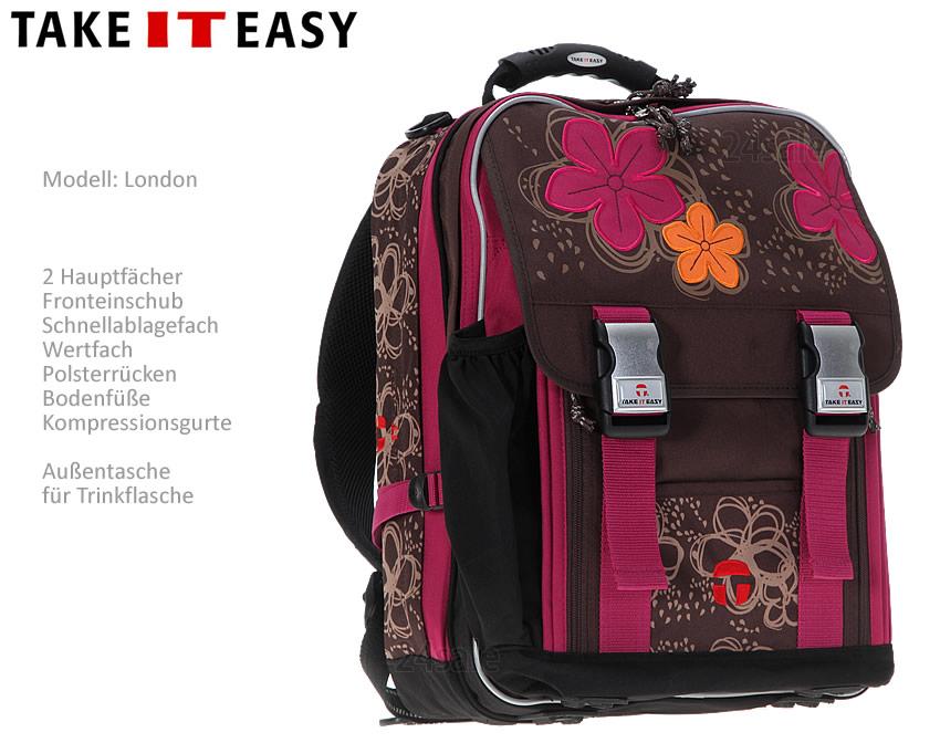 3er set schulrucksack take it easy london cut flower. Black Bedroom Furniture Sets. Home Design Ideas