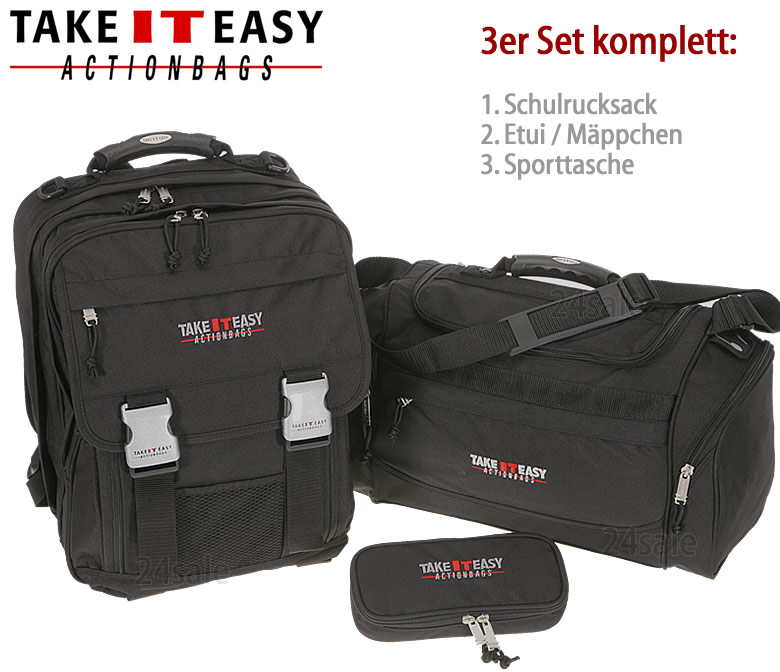 set take it easy schulrucksack london sporttasche. Black Bedroom Furniture Sets. Home Design Ideas