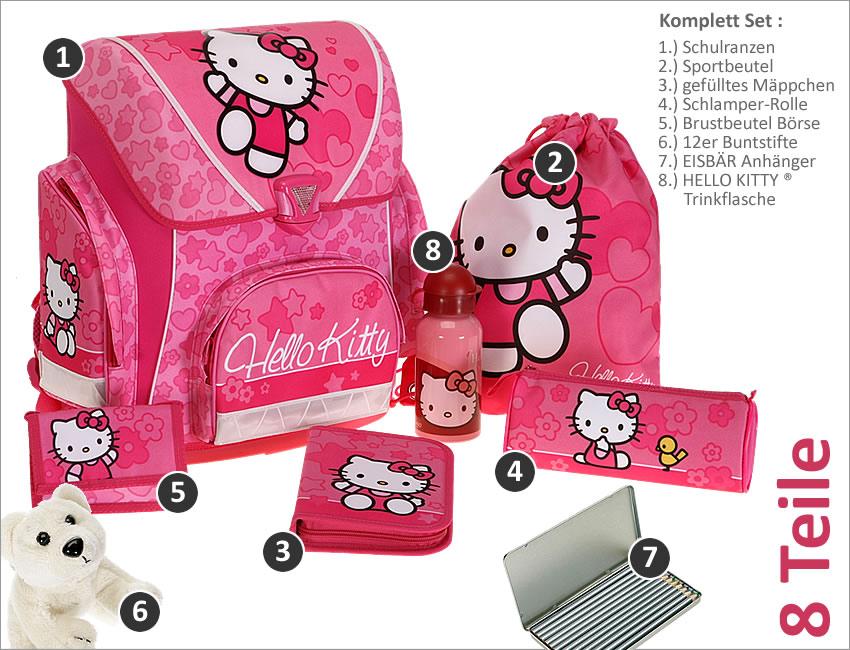 set hello kitty schulranzen ranzen pink rosa girls neu ebay. Black Bedroom Furniture Sets. Home Design Ideas