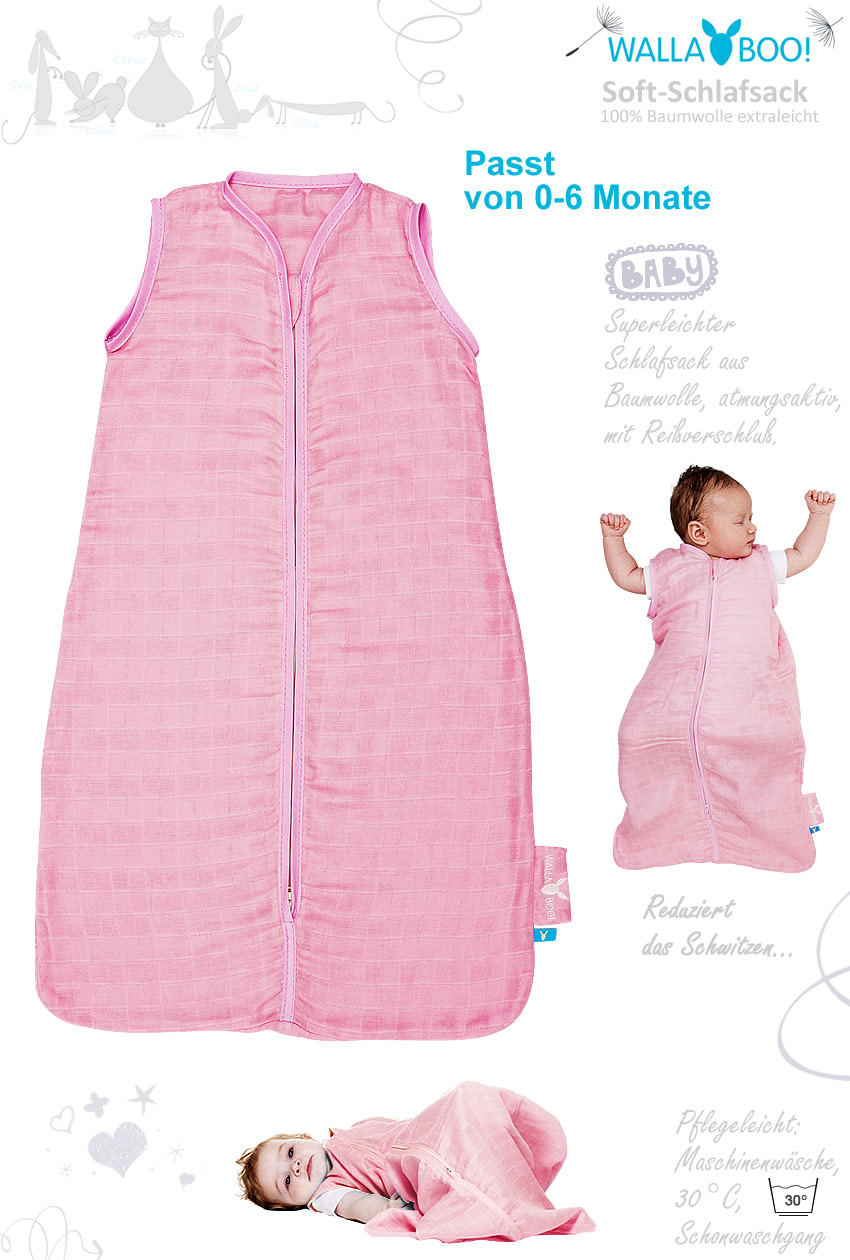 schlafsack wallaboo cotton babyschlafsack baby 06 rosa ebay. Black Bedroom Furniture Sets. Home Design Ideas